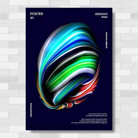 Liquid, Brush Poster . Multicolored Object. Drop Oil Illustration