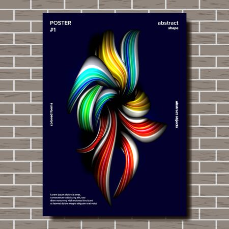 Liquid, Brush Poster . Surreal Graphic. Multicolored Object Illustration