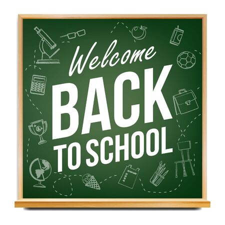 Back To School Banner Design . Green. Classroom Blackboard. Sale Poster. 1 September. Education Related. Realistic Illustration 写真素材