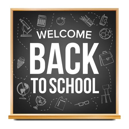 Back To School Banner . Black. Classroom Chalkboard. Sale Poster. 1 September. Education Related. Realistic Illustration