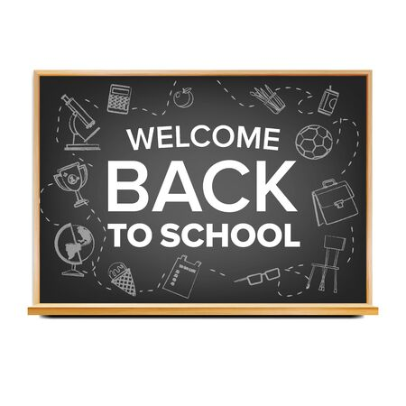 Back To School Banner Design . Classroom Blackboard. Black. Doodle Icons. Sale Flyer. Retail Marketing Promotion. Realistic Illustration Zdjęcie Seryjne - 128881360
