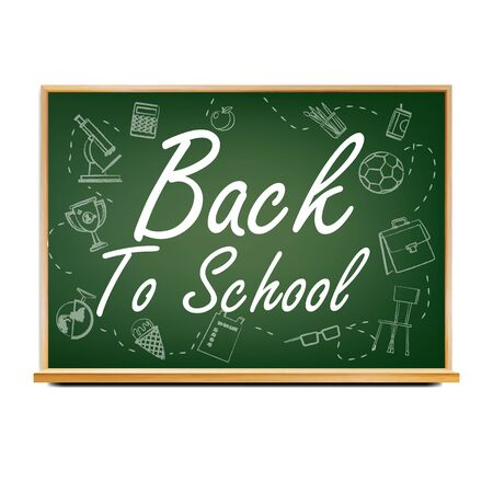 Back To School Banner . Green. Classroom Chalkboard. Doodle Icons. Sale Flyer. Welcome. Retail Marketing Promotion. Realistic Illustration Stock fotó - 128881361