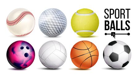 Sport Balls Set . Sport Game, Fitness Symbol. Isolated Illustration Stok Fotoğraf