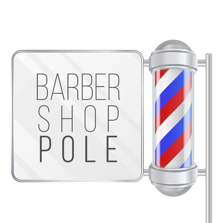 Barber Shop Pole . Space For Your Advertising. Old Fashioned Vintage Silver And Glass Barber Shop Pole.