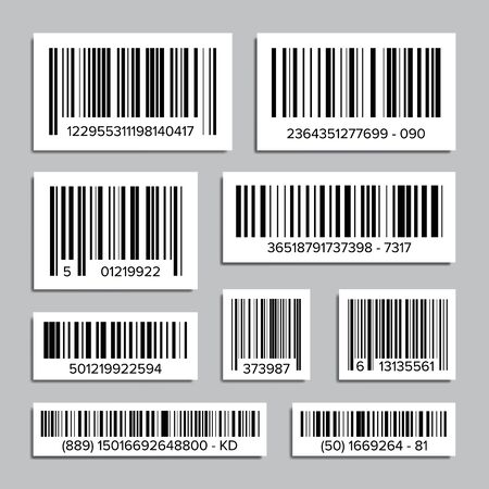 Bar Code Set . Universal Product Scan Code. Isolated Illustration Banco de Imagens
