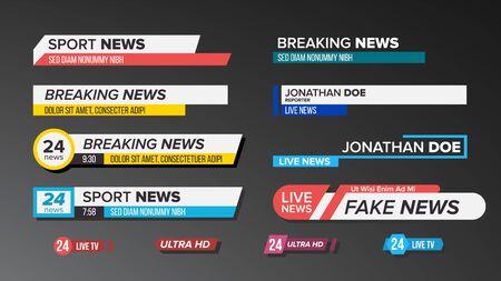 Conjunto de barras de noticias de TV. Signo de tercio inferior. Noticias en vivo, Ultra HD. Banners para la transmisión de videos de televisión. Ilustración aislada
