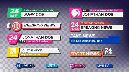 TV News Bars Set . Breaking, Sport News. Media labels Tag For Television Broadcast. Isolated Illustration