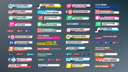 TV News Bars Set . Streaming Video News Sign. Breaking, Sport News. Interface Sign. Isolated Illustration