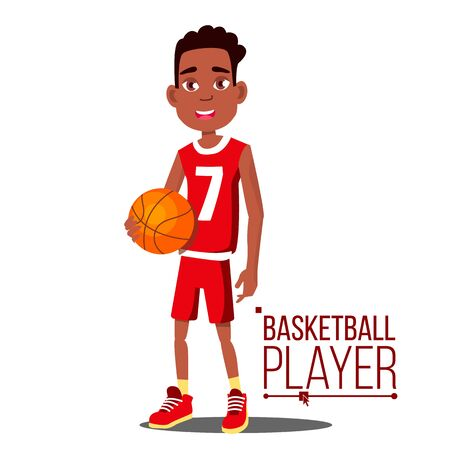 Basketball Player Child . Afro American, Black. Athlete In Uniform With Ball. Healthy Lifestyle. Isolated Cartoon Illustration