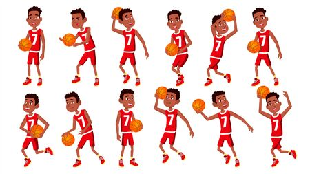 Basketball Player Child Set . In Action. Athlete In Uniform With Ball. Team Action Stickers. Sport Game. Isolated Flat Cartoon Illustration