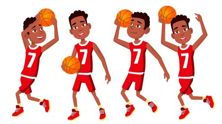 Basketball Player Child Set . Different Poses. Leads The Ball. Sport Game Competition. Sport. Isolated Flat Cartoon Illustration Stockfoto