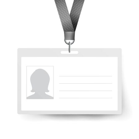 Id Badge . Name Tag. Employee Card. White Blank Plastic Id Card Stock Photo