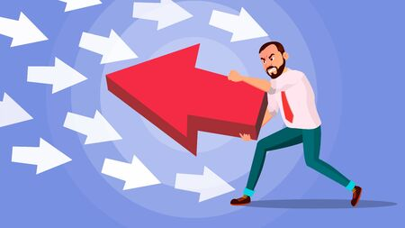 Businessman Pushing Arrow . Strategy Concept. Standing Out From The Crowd. Different Idea. Against Obstacles. Opposite Direction. Cartoon illustration Stock Photo