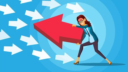 Business Woman Pushing Arrow . Opponent Concept. Opposite Direction. Standing Out From The Crowd. Against Obstacles. illustration Reklamní fotografie