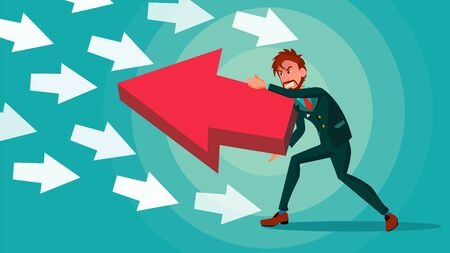 Businessman Pushing Arrow . Opposite Direction. Strategy Concept. Standing Out From The Crowd. Opponent. Against Obstacles. Cartoon illustration Stock Photo