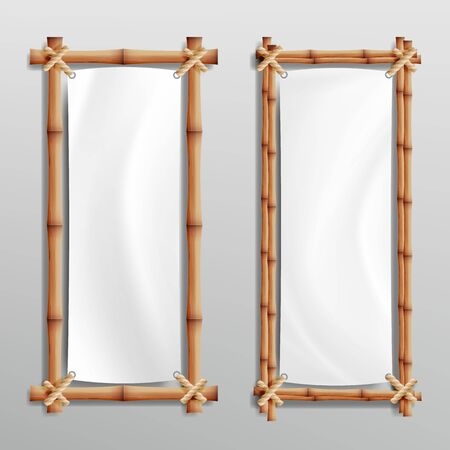 Bamboo Frame Template . Good For Tropical Signboard. Empty Canvas For Text. Realistic Stock Photo