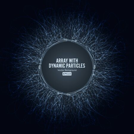 Array With Dynamic Particles. Big Data Complex. Graphic Abstract Background With Lighting Effect