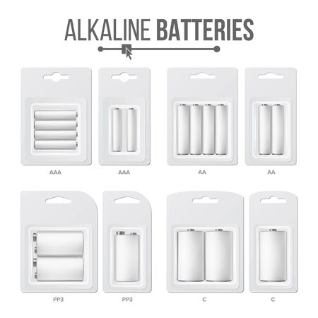 Batteries Packed Set . Different Types AAA, AA, C, D, PP3, 9 Volt. Alkaline Battery In Blister Realistic Glossy Battery Accumulator Imagens