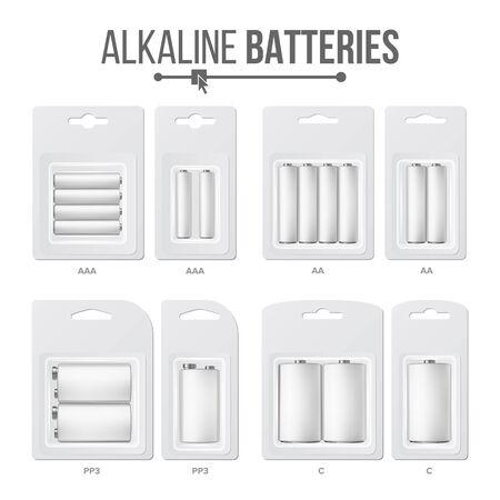 Conjunto de baterías empaquetadas. Diferentes tipos AAA, AA, C, D, PP3, 9 voltios. Batería alcalina en blister Acumulador de batería brillante realista Foto de archivo