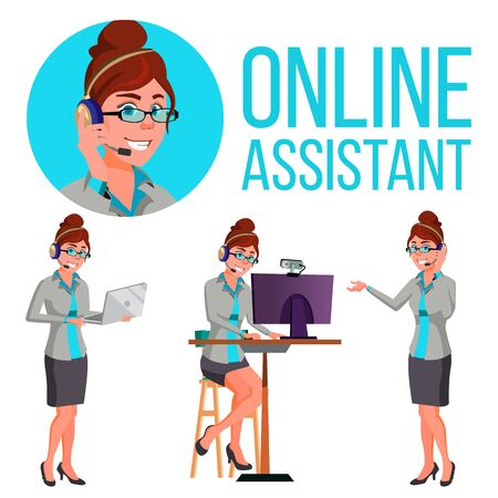 Online Assistant European Woman . Headphone, Headset. Helpline Operator. Website Support Illustration