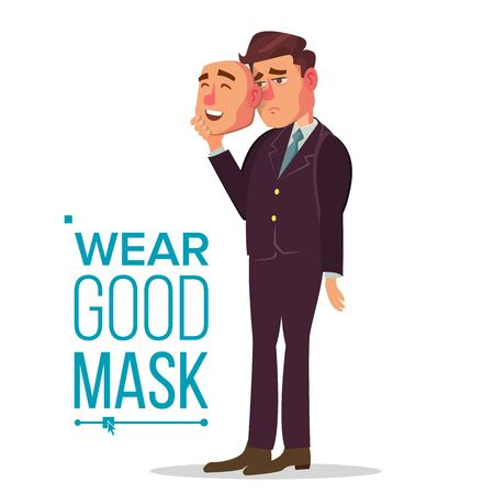 Angry Man Wear Good Mask . Bad, Tired Man. Fake Person. Deceive Concept. Isolated Flat Cartoon Business Character Illustration Stok Fotoğraf - 128884969