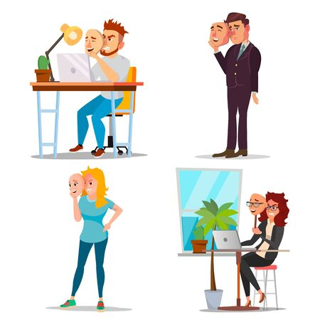 Fake Person Set . Bad, Tired Man, Woman. Deceive Concept. Business People Wear Smile Mask. Isolated Flat Cartoon Illustration