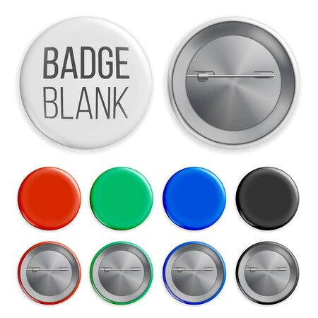 Blank Badges Set . Realistic Illustration. Clean Empty Pin Button Mock Up. White, Blue, Red, Black, Green Banco de Imagens