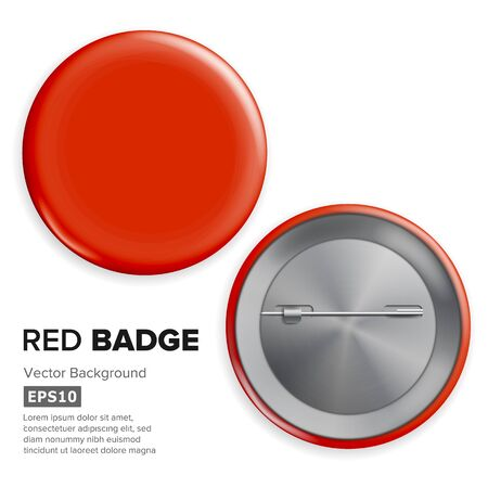 Blank Red Badge . Realistic Illustration. Shiny Empty Circle Button Badge Banco de Imagens