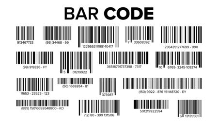 Bar Code Set . UPC Bar Codes. Universal Product Code. Market Trademark. Isolated Illustration Banco de Imagens