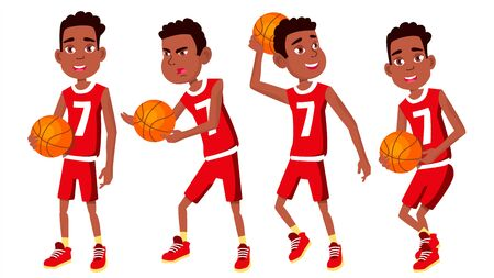 Basketball Player Child Set . Various Poses. Athlete In Uniform With Ball. Sport Game Competition. Game. Isolated Flat Cartoon Illustration