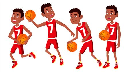 Basketball Player Child Set . In Action. Leads, Playing With A Ball. Healthy Lifestyle. Runningm Jump With Ball. Isolated Flat Cartoon Illustration Stockfoto