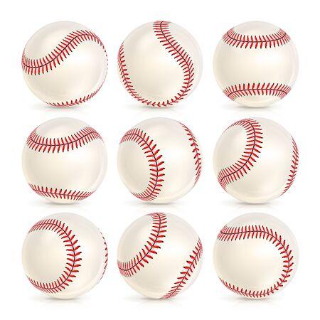 Baseball Lederball Isoliert Auf Weiss. SoftBall-Basisball. Glänzend