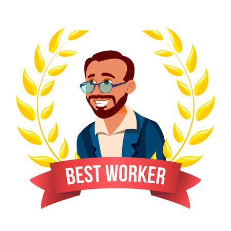 Best Worker Employee . Turkish Man. Award Of The Month. Gold Wreath. Professional Goals. Victory Business Illustration Imagens - 128885197