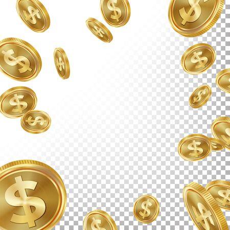 Jackpot Winner Background . Falling Explosion Gold Coins Illustration. For Online Casino