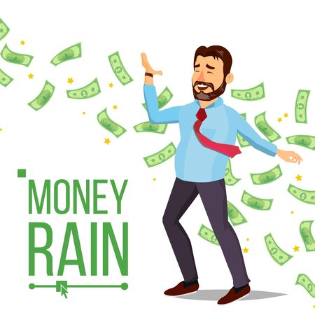 Dollar Rain Businessman . Rain Banknotes Cash. Hands Raised. Rich And Successful. Isolated Flat Cartoon Character Illustration