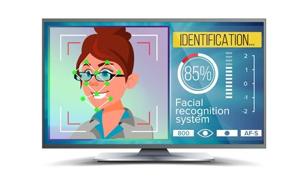 Face Recognition, Identification System . Face Recognition Technology. Woman Face On Screen. Human Face With Polygons And Points. Scanning Illustration