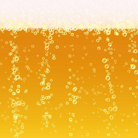 Piwo Tekstura Tła Z Pianką I Vubbles. Makro Odświeżające Piwo.