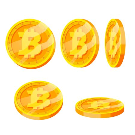 Bitcoin Gold Coins Set. Flip Different Angles. Modern Virtual Money. Digital Currency. Isolated illustration