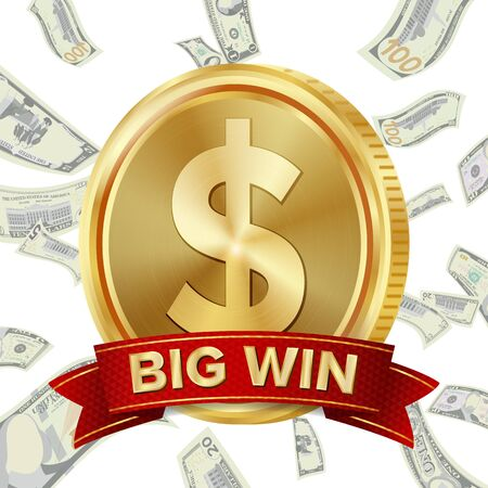 Big Winner Poster . You Win. Dollar Golden Coin With Red Ribbon. 写真素材