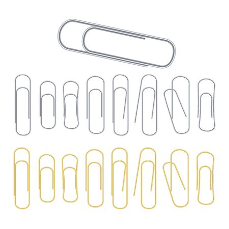 Small Binder Clips Isolated On White. Realistic Clip Set