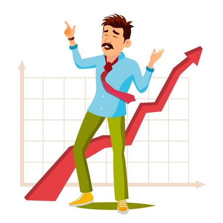 Happy Businessman . Celebrating Victory. Successful Office Worker. Isolated Flat Cartoon Character Illustration