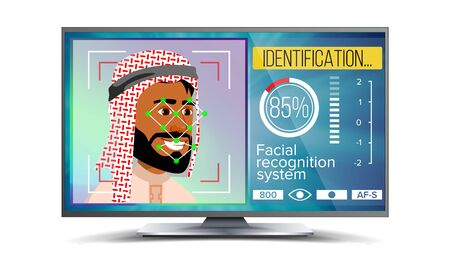 Face Recognition, Identification System . Face Recognition Technology. Arab Face On Screen. Human Face With Polygons And Points. Scanning Illustration