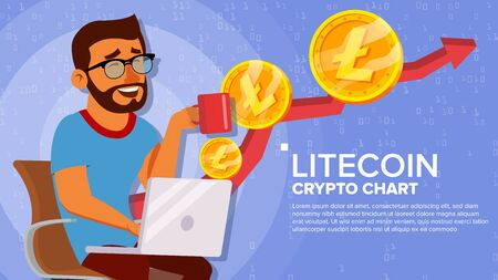 Litecoin Up Trend, Growth Concept . Trade Chart. Virtual Money Happy Man Investor. Crypto Currency Market Concept. Cartoon Illustration
