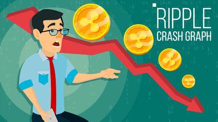 Ripple Crash Graph . Surprised Investor. Negative Growth Exchange Trading. Collapse Of Crypto Currency. Ripple Crypto Currency Market Concept. Annoyance, Panic. Cartoon Illustration Zdjęcie Seryjne