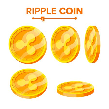 Ripple Gold Coins Set. Flip Different Angles. Ripple Virtual Money. Digital Currency. Isolated illustration