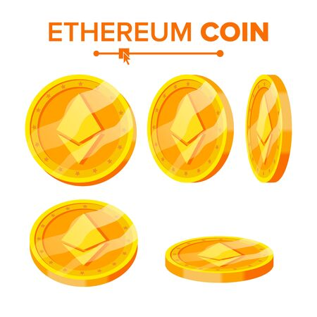Ethereum Gold Coins Set. Flip Different Angles. Ethereum Virtual Money. Digital Currency. Isolated illustration