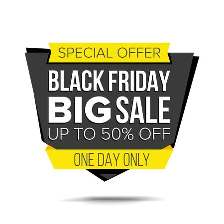 Black Friday Sale Banner . Website Sticker, Black Web Page Design. Big Super Sale. Isolated On White Illustration