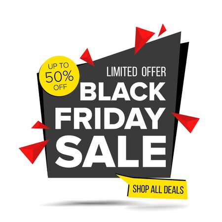 Black Friday Sale Banner . Discount Up To 50 Off. Discount Tag, Special Friday Offer Banner. Isolated On White Illustration Stock Photo