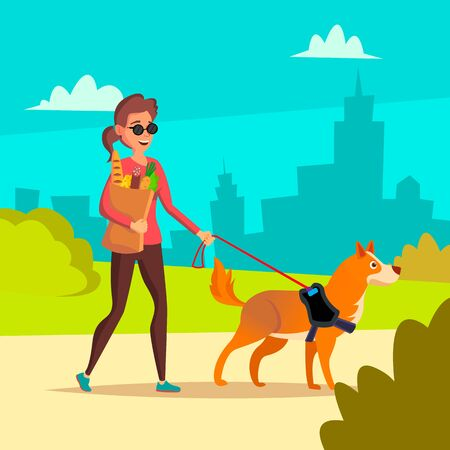 Blind Woman . Young Person With Pet Dog Helping Companion. Disability Socialization Concept. Blind Female And Guide Dog On Crosswalk. Character Illustration
