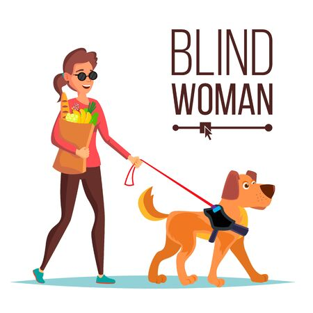 Blind Woman . Person With Pet Dog Companion. Blind Female In Dark Glasses And Guide Dog Walking. Cartoon Character Illustration Stockfoto